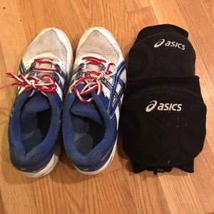 ASICS volleyball shoes and knee pads